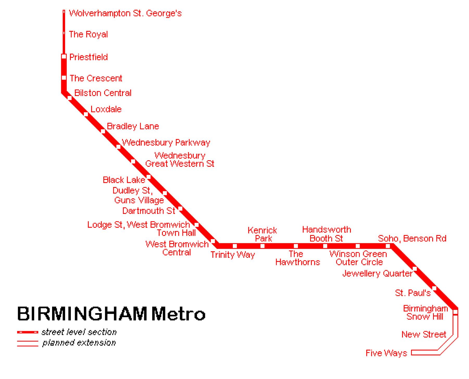 Карта метро Бирмингем Великобритания Birmingham.